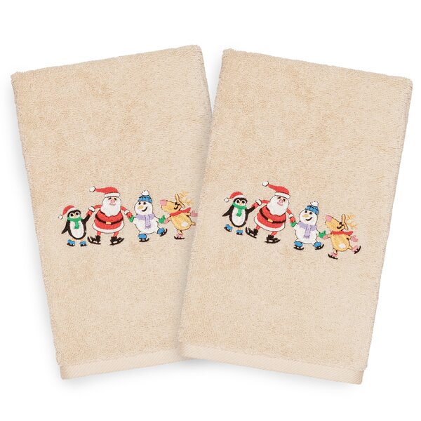 Beam Skating Party Embroidered Luxury 100% Turkish Cotton Hand Towel (Set of 2) by The Holiday Aisle
